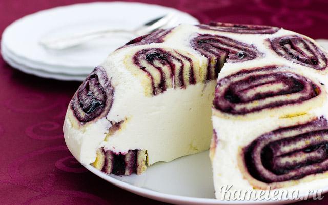 Творожный торт с бисквитным рулетом