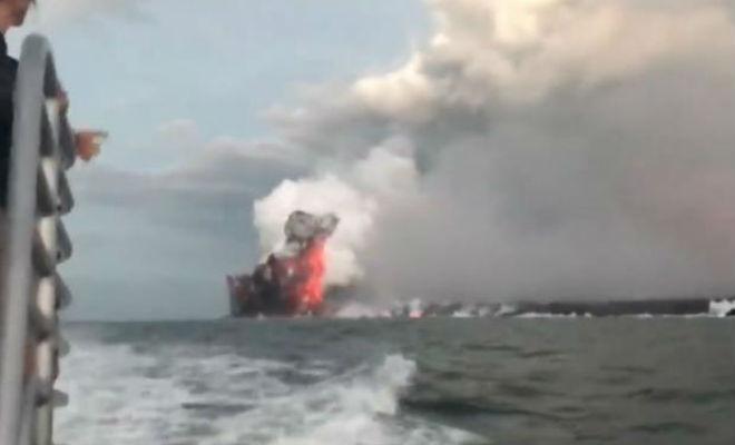 Взрыв вулканической бомбы на видео