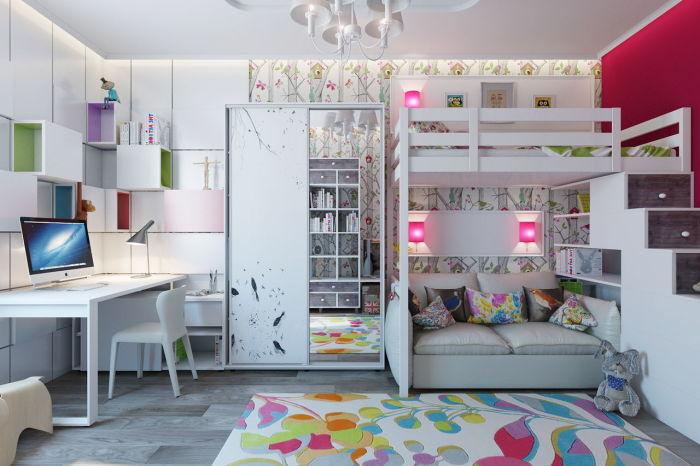 Стильная и эргономичная двухэтажная кровать с двумя спальными местами.