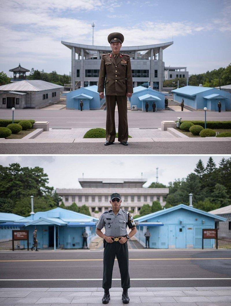 Вверху — лейтенант Корейской народной армии, Северная Корея, внизу — капрал Вооруженных сил Республики Корея, Южная Корея кндр, люди, северная корея, сравнение, страны, южная корея
