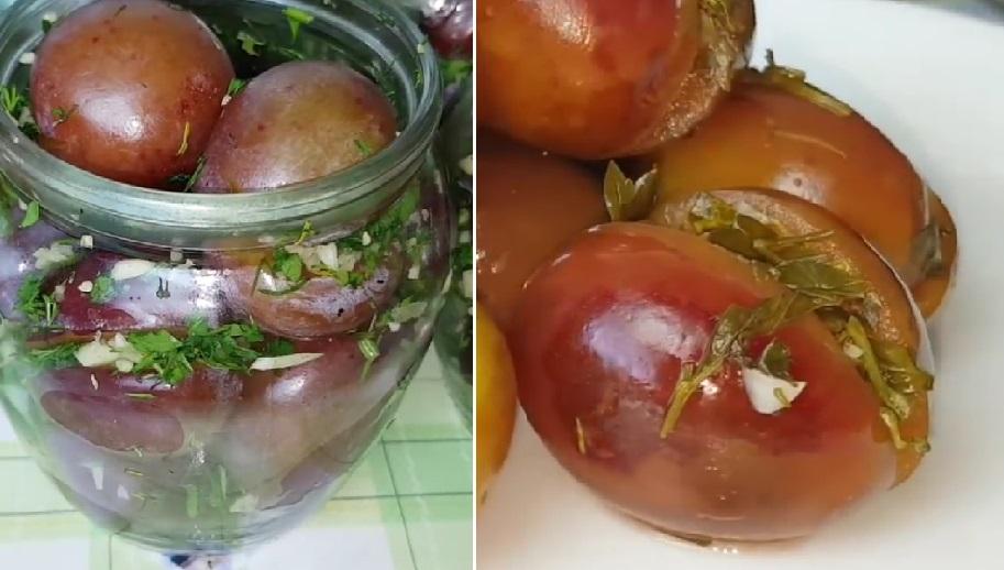 Необычный рецепт из цыганской кухни: маринованные сливы с чесноком и зеленью