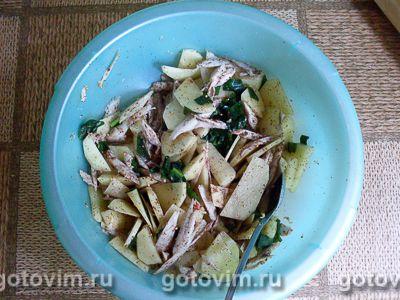 Песочный пирог с курицей, картофелем и черемшой, Шаг 06