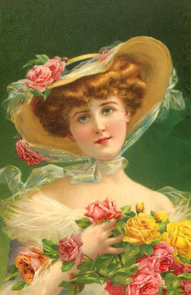 Открытки с портретом женщины, лет