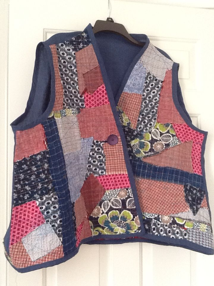 My fabric collage vest, made Oct 2015: