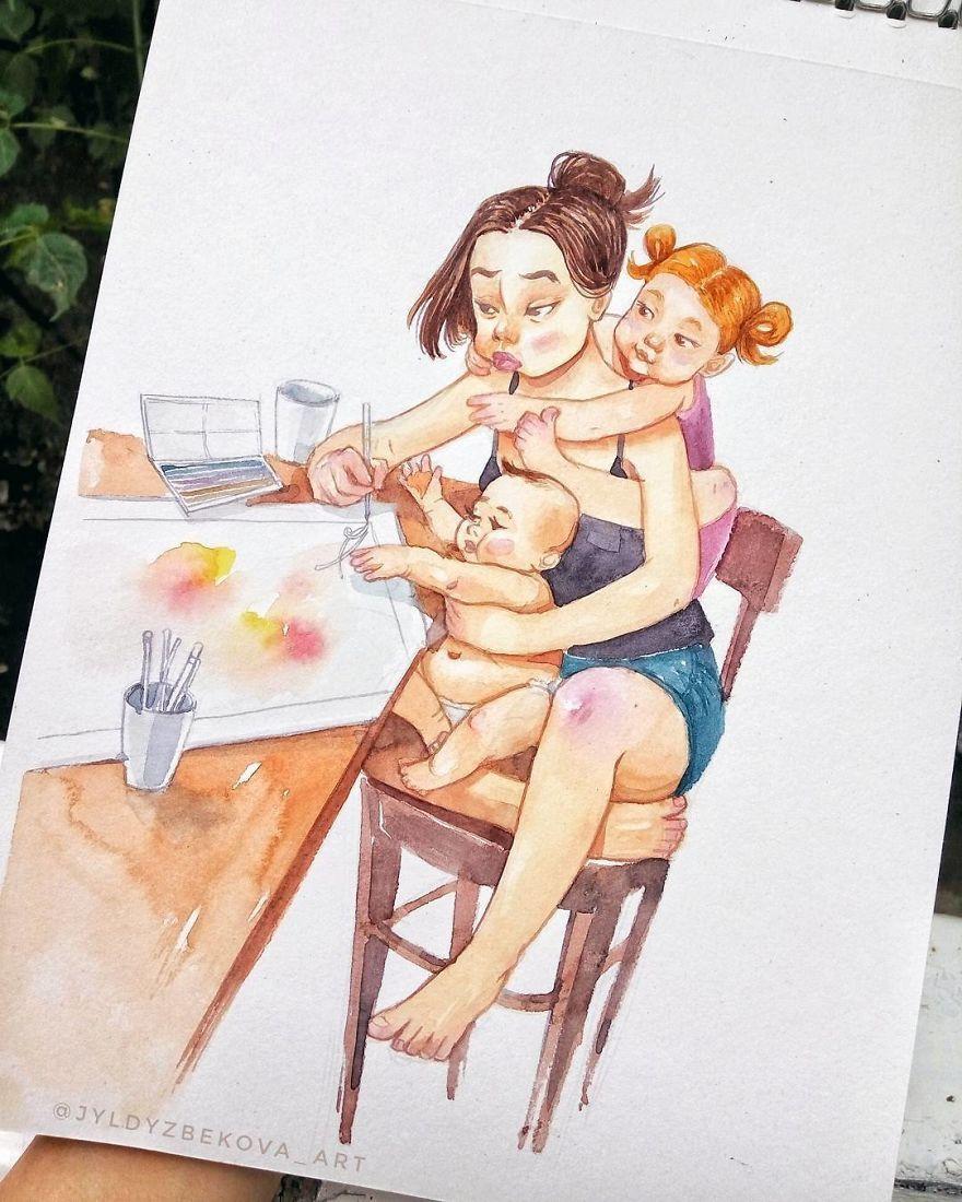 Гифки доброе, мама и дочка смешные картинки нарисованные