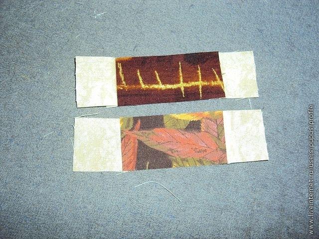 пришиваем к следующей по размеру темной заготовке белые квадратики, заглаживаем