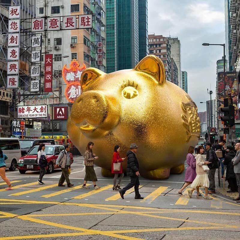 4. Говорят, что чем больше золотая свинья, тем больше удачи она принесёт Томми Фанг, гонконг, забавно, талант, фантазия, фото, фотошоп, художник