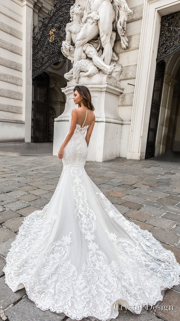 crystal design 2018 sleeveless strapless deep plunging sweetheart neckline full embellishment elegant mermaid wedding dress sheer button back chapel train (gia) bv
