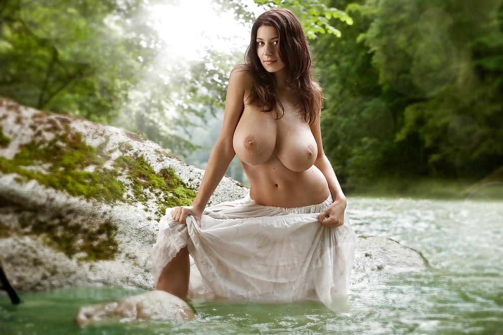 Alexandra tyler sexy nude brunette with medium natural boob photo