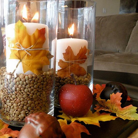 Осенние свечи в эко-стиле: легкие идеи декора из съедобных природных материалов