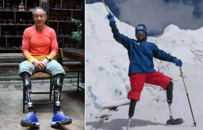 Безногий альпинист из Китая исполнил мечту всей жизни - покорил Эверест в 69 лет