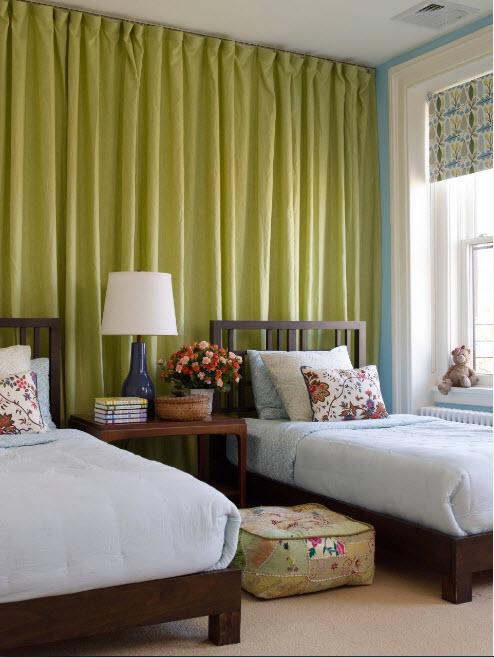 Желто-зеленые шторы