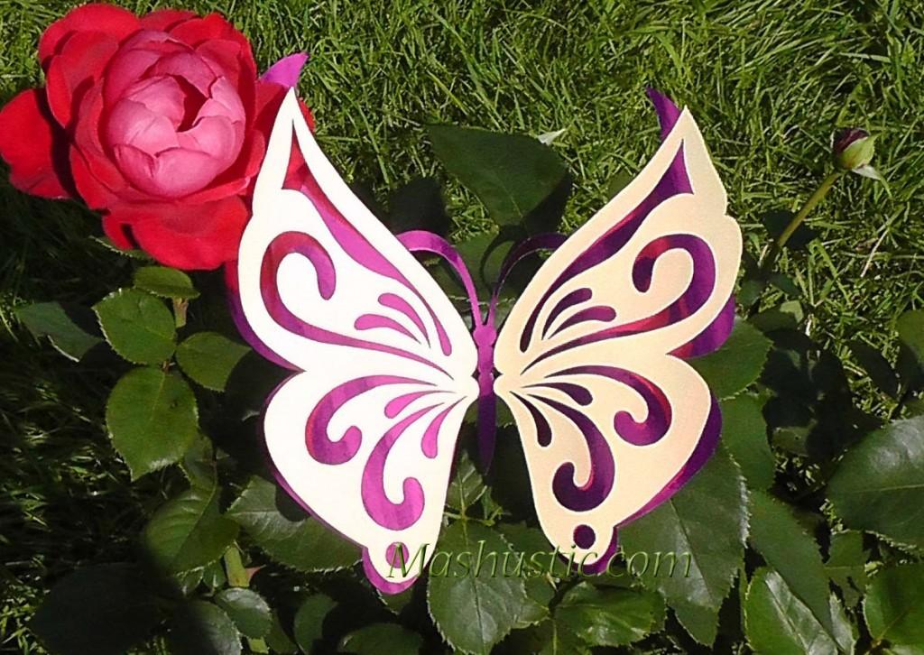 Вырезаем ажурные двухслойные бабочки из бумаги по трафаретам