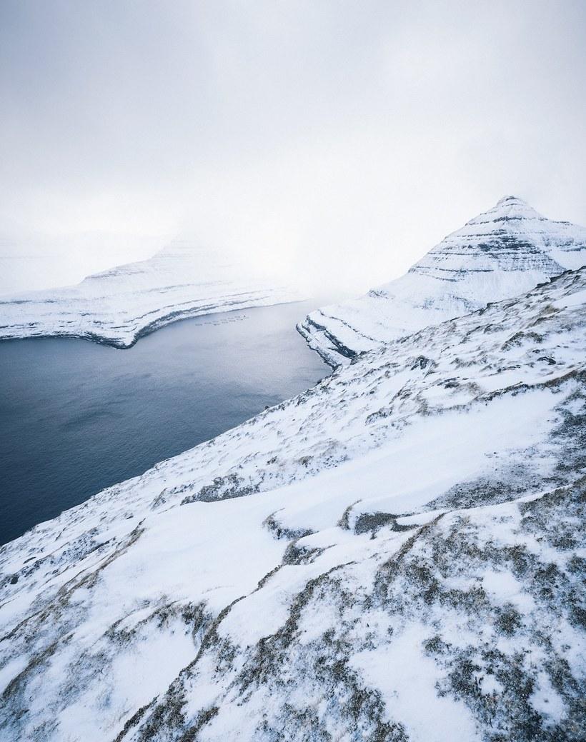 Фотограф запечатлел редчайшее зрелище — Фарерские острова, покрытые снегом