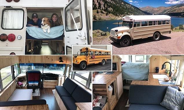 Крутой дом на колесах из школьного автобуса: пара из США соорудила мечту путешественника