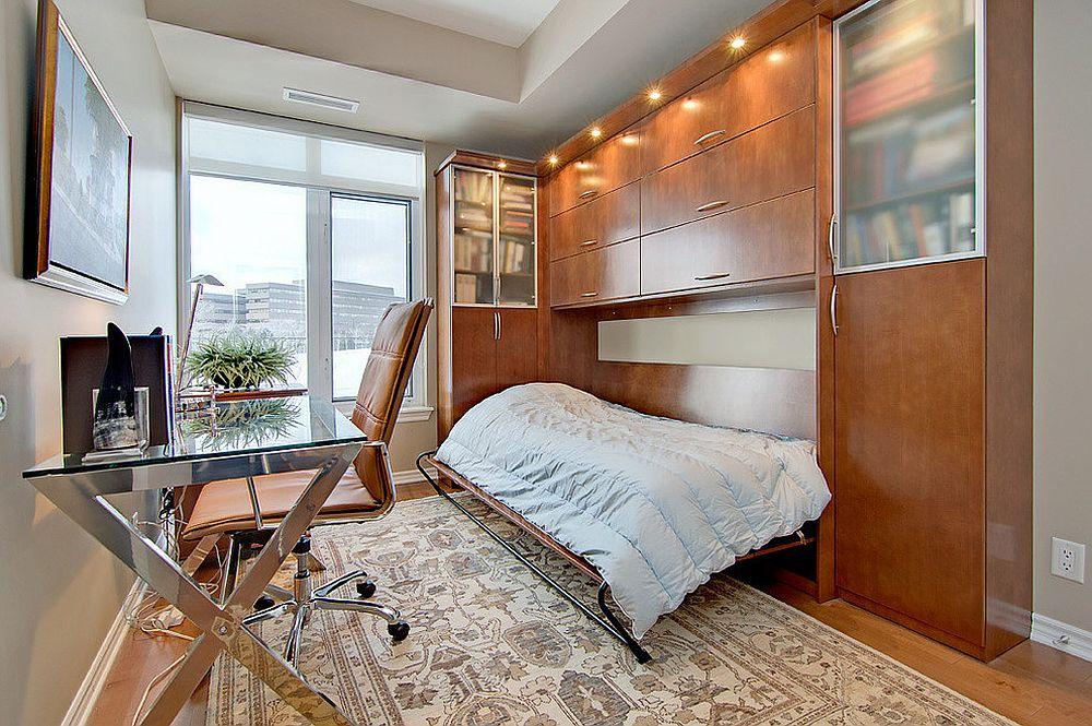 Домашний мини-офис, совмещенный с комнатой для гостей
