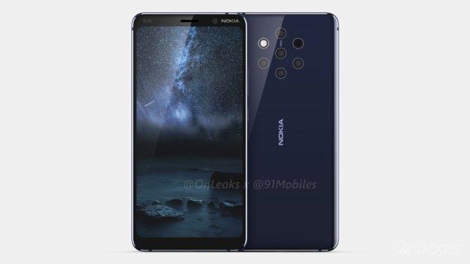 Смартфон Nokia 9 с круговой пентакамерой показали в чехле