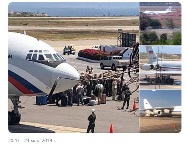 Выгрузка военнослужащих и специалистов России в аэропорту Каракаса. Фото взято у Роба Ли - https://twitter.com/RALee85/status/1109889592105332736