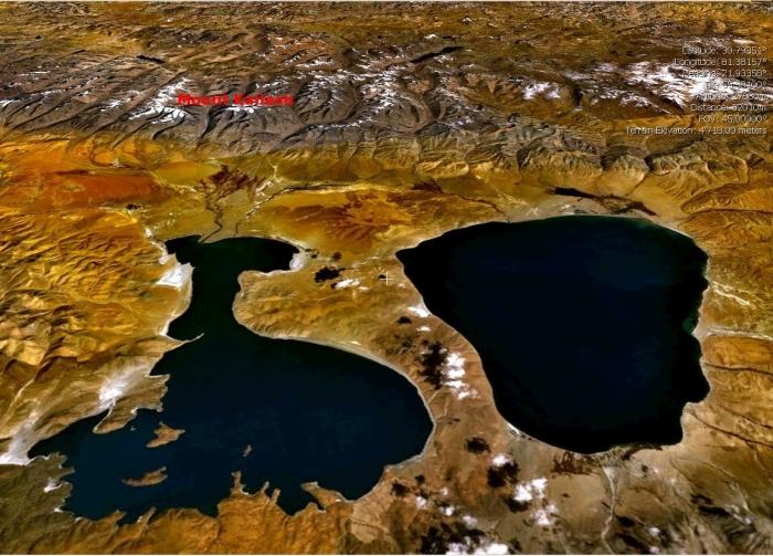 Озера Манасаровар и Ракшас со спутника. / Фото: www.365drw.com