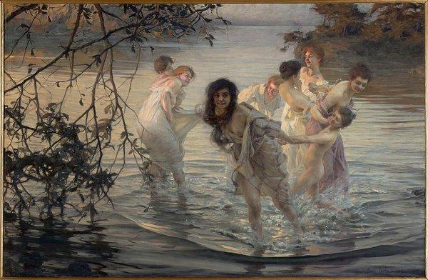 Время купаться! Картины про женщин-ню в воде