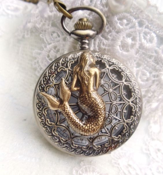 Mermaid pocket watch, mens pocket watch with mermaid mounted on front case: