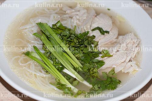 Выложите мелко нарезанную кинзу и перья зеленого лука.