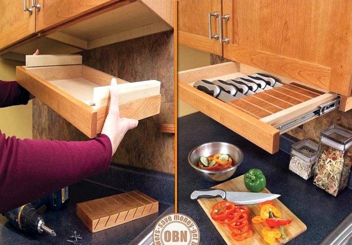 Специальный видвижной ящик для ножей не занимет много места фото