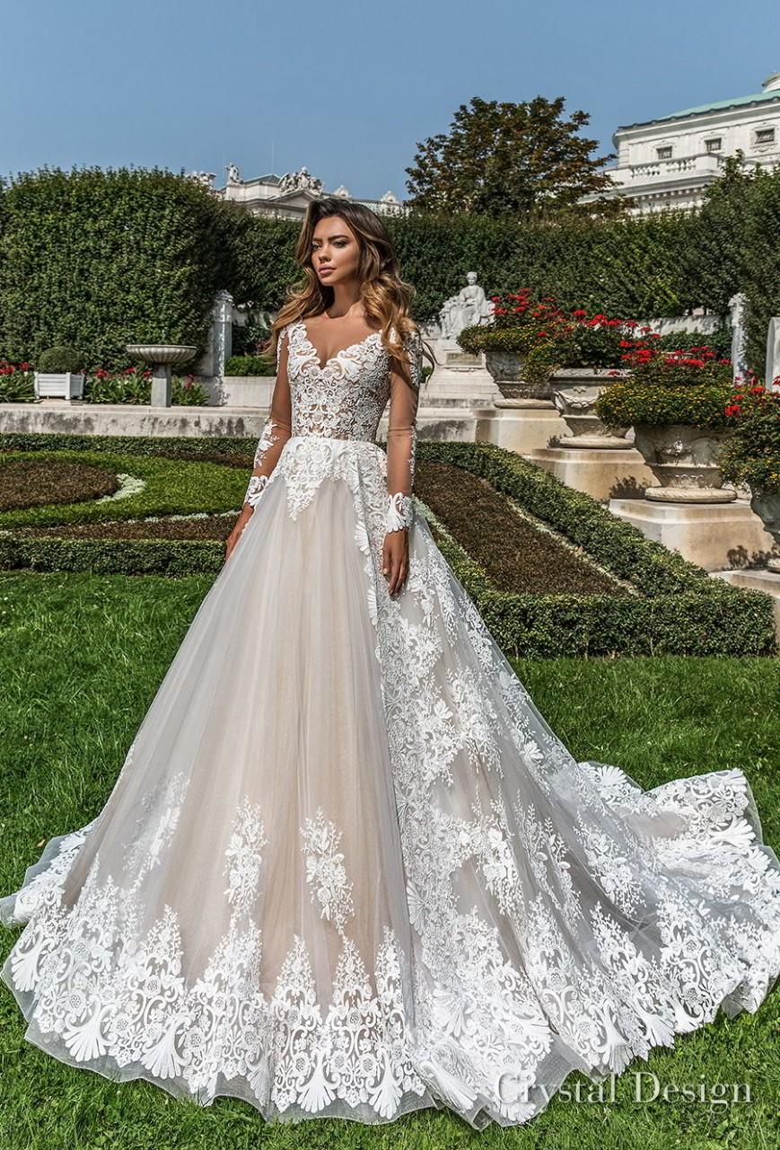 crystal design 2018 long sleeves v neck full embellishment princess a line wedding dress sheer button back chapel train (britta) mv