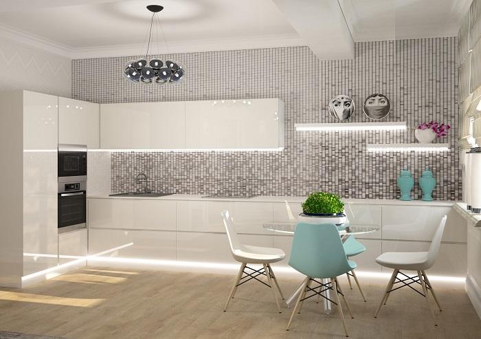 Однотонная мозаика для кухни – свежее решение для современных хозяек