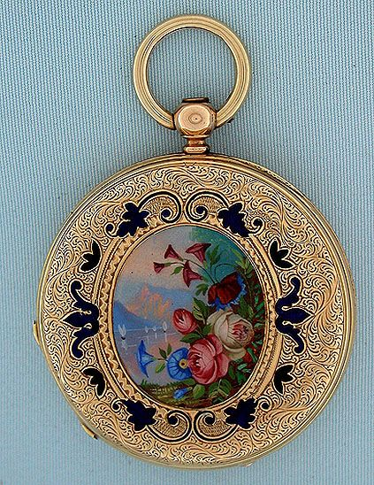 Beautiful Swiss 18 gold and painted enamel ladies keywind antique pendant watch retailed by Cooper, London, circa 1860. The engraved covers enriched with enamel foliage and centered with lovely and unusual painted enamel landscapes with bright flowers in the foregrounds. Overglaze scratched and small restorations. White enamel dial (tiny repairs) with blued steel hands. Gilt 13 jewel lever movement.: