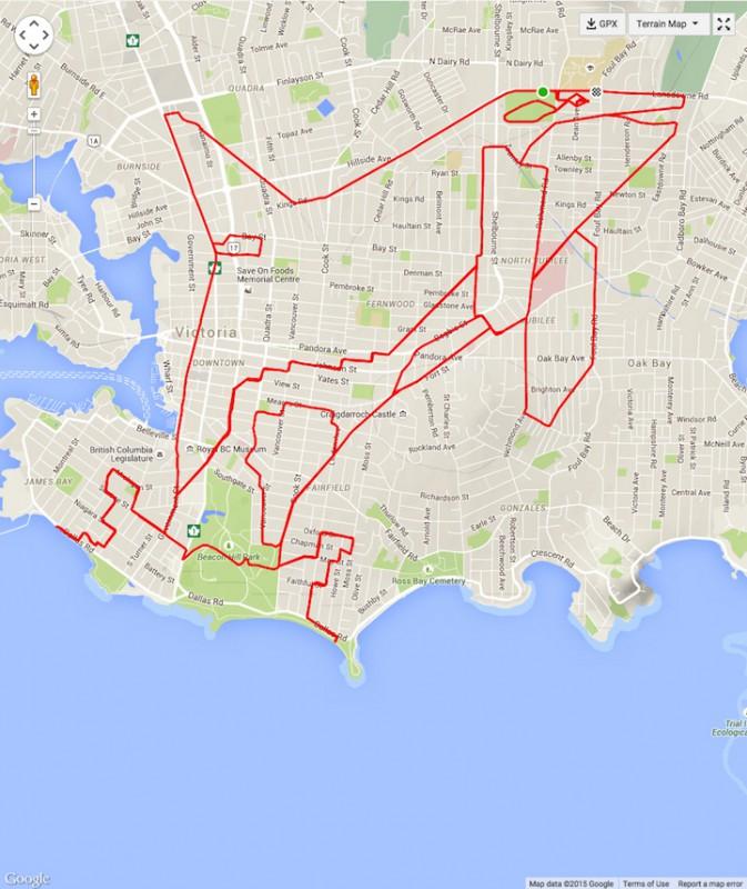 Велогонщик из Канады рисует GPS-картины на картах