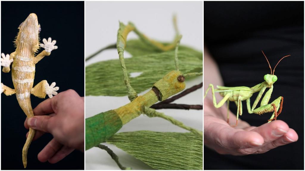 Тина Краус мастерит фигурки насекомых (и не только их). Трудно поверить, что они сделаны из бумаги