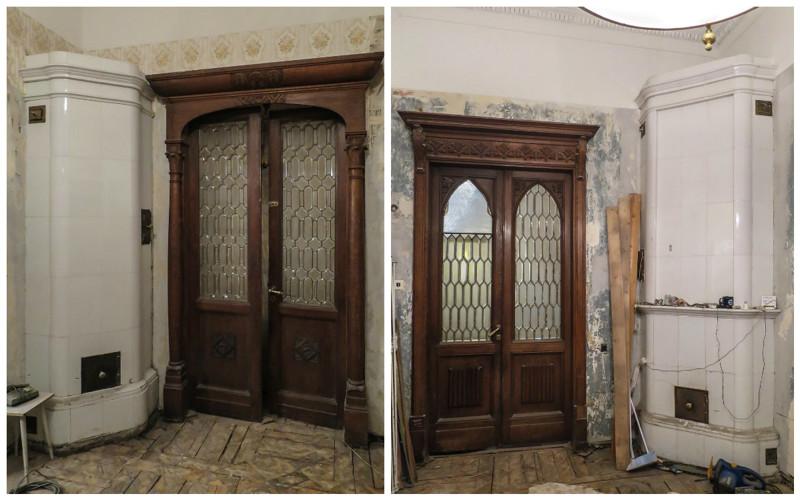 Двустворчатые двери с резьбой и фацетными витражными стеклами и белоглазурованные печи антиквариат, архитектура, история, камины, старый фонд