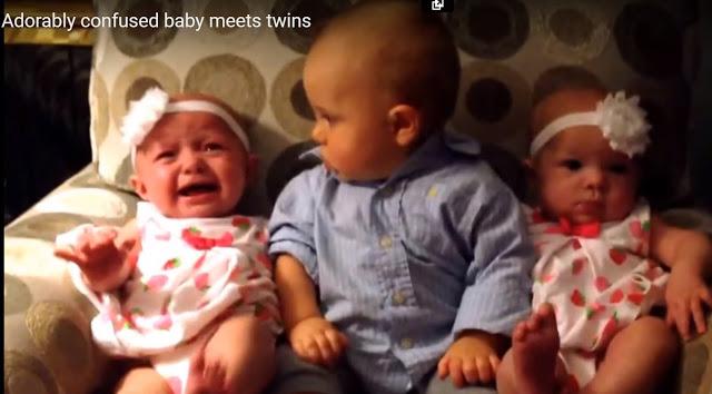 Ребенок впервые увидел близн…