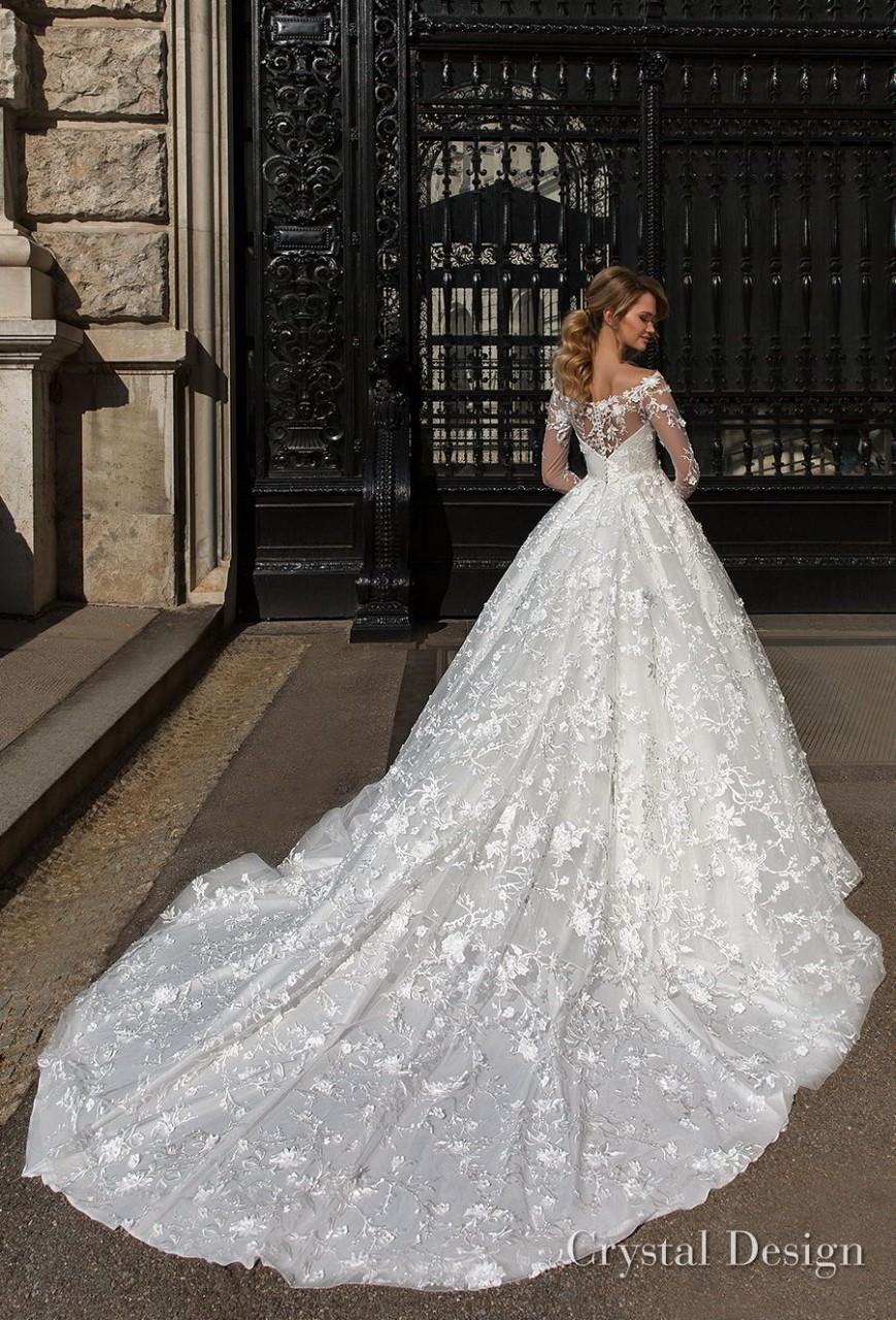 crystal design 2018 long sleeves illusion off the shoulder full embellishment romantic a line wedding dress lace back royal train (kayla) bv