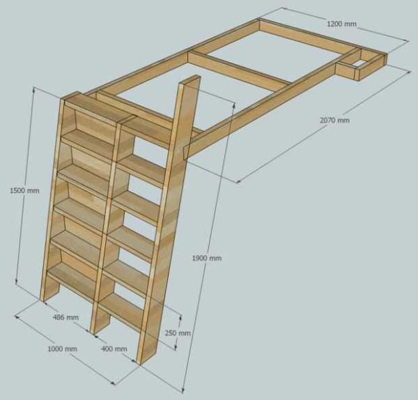 Проект: кровать чердак для девочки