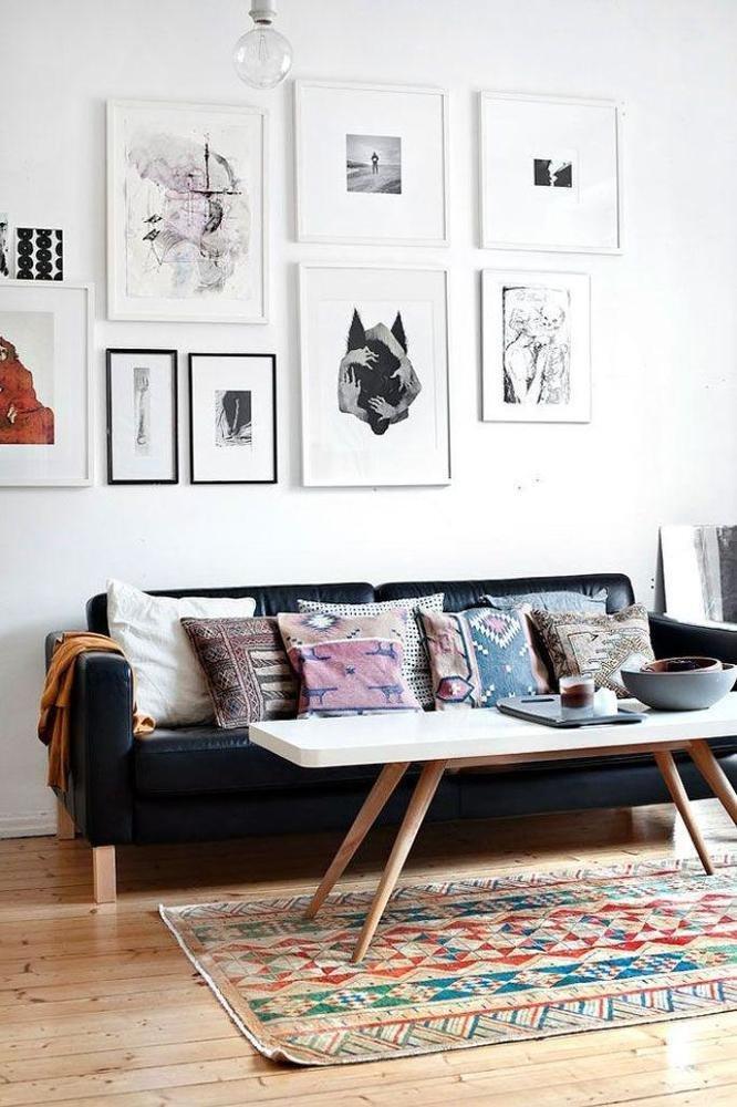 Фотография: Гостиная в стиле Скандинавский, Советы, Картины, настеннный декор, как развесить картины в гостиной – фото на InMyRoom.ru