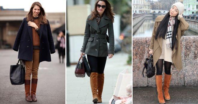 Коричневые сапоги под пальто