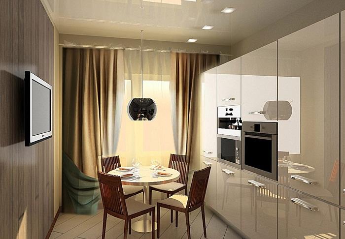 Кухня оформленная в стиле hi-tech.