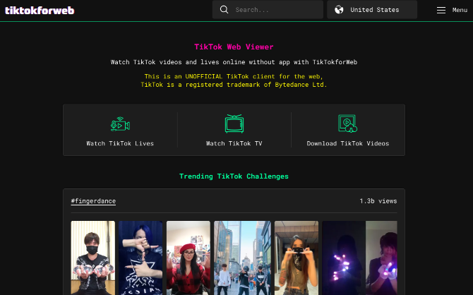 TikTok for Web is the only unofficial web client to browse TikTok on computers