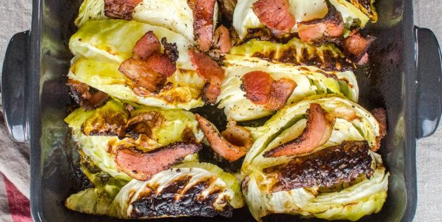 Рецепты с капустой: Запечённая капуста с беконом