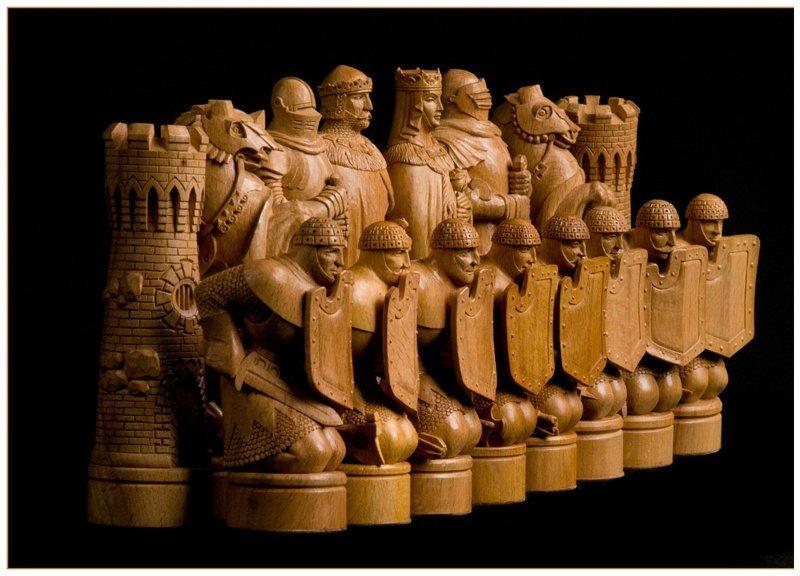 Княжеские из дерева, ручная резьба искусство, красота, мастерство, невероятное, талант, шахматы
