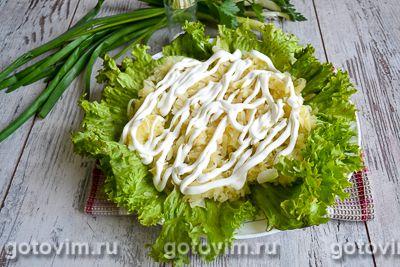 Слоеный салат с блинами «Букет роз», Шаг 03