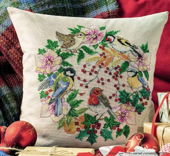 Схемы для красивой вышивки крестом с птицами и цветами. Просто прелесть!