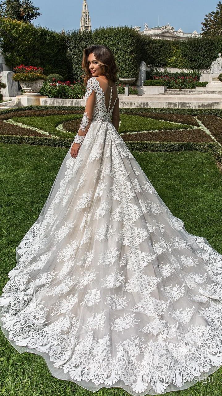 crystal design 2018 long sleeves v neck full embellishment princess a line wedding dress sheer button back chapel train (britta) bv