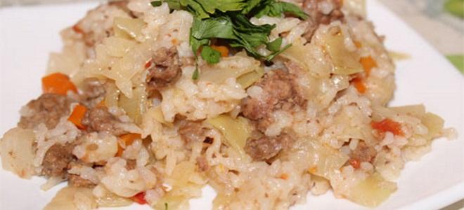 рис с капустой и мясом в мультиварке