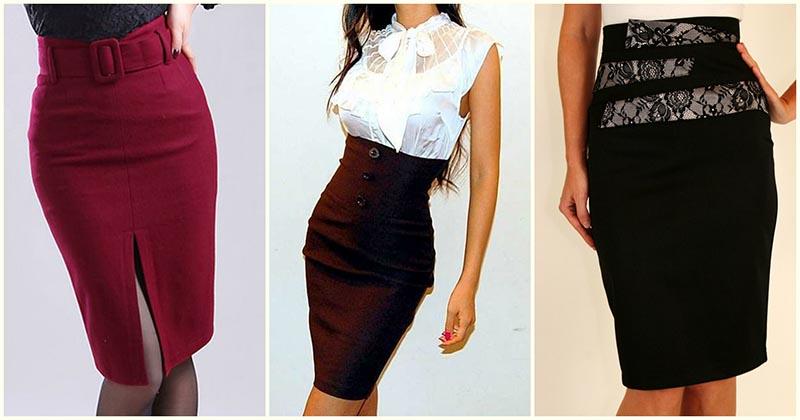 Стильная юбка-карандаш с высокой талией — 15+ восхитительных идей