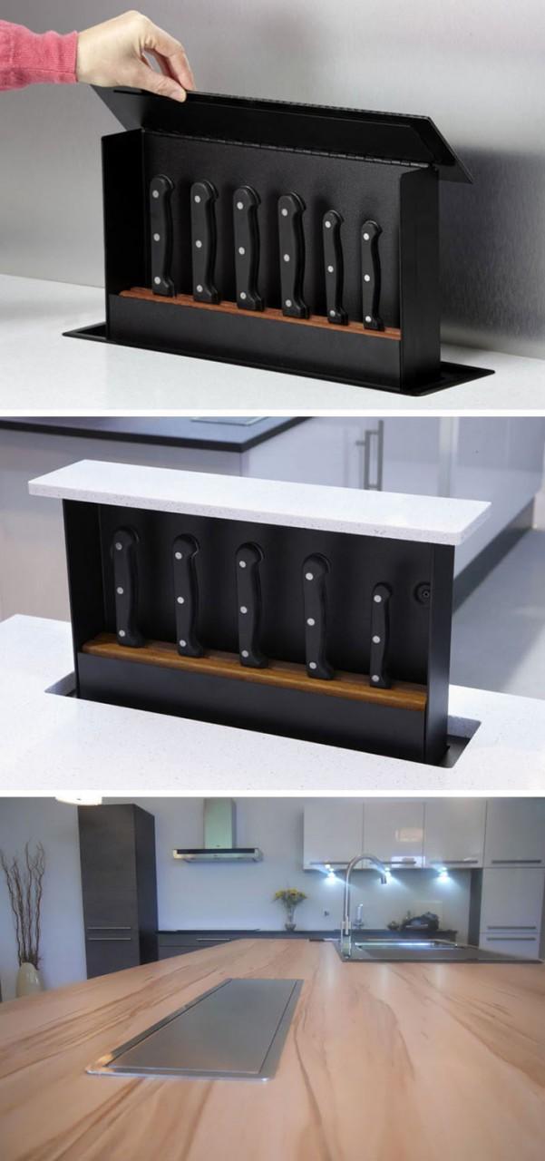 Выдвижная система хранения кухонных ножей фото