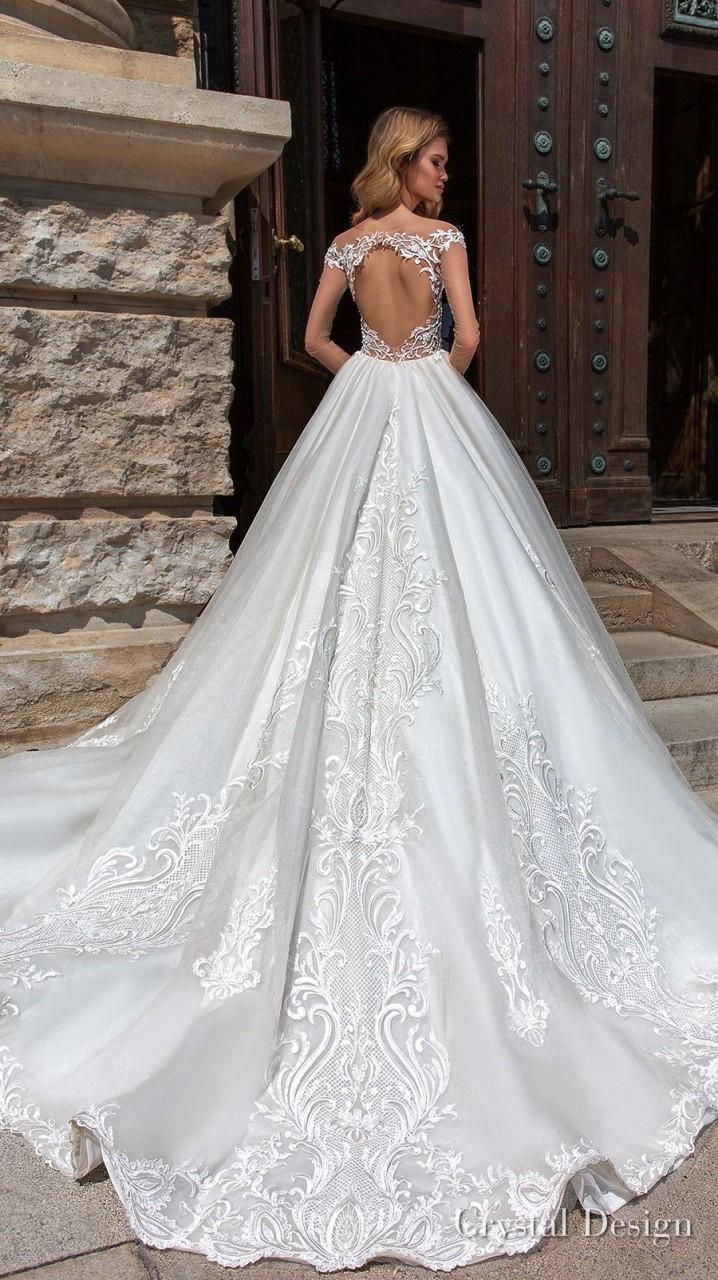 crystal design 2018 long sheer sleeves sweetheart neckline full embellishment princess a line wedding dress keyhole back chapel train (gabriella) bv