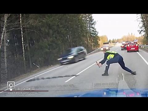 Эстонский полицейский эффектно остановил машину с наркоманом за рулем